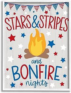 Stupell Industries 星条旗和篝火短语 Nights Americana Pride,由 Taylor Shannon 设计 白色带框墙艺术,40.64 x 50.84 厘米,红色
