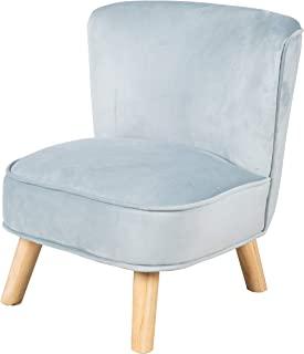 "roba 儿童扶手椅 ""Lil Sofa"" 适合男孩和女孩,舒适的扶手椅,结实的木脚和天鹅绒面料,天空/浅蓝色,儿童座椅家具系列""Lil 沙发""适用于儿童房或婴儿房"