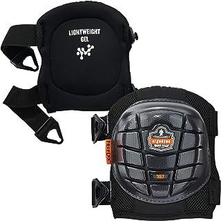 Ergodyne ProFlex 357 专业护膝,保护性短帽,轻质凝胶衬垫技术,可调节肩带,黑色