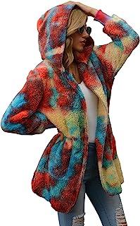 LAMISSCHE 女式毛绒羊绒连帽开衫长袖开襟夹克扎染格子外套带口袋