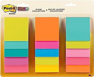 Post-it *便签纸,3 x 3 英寸(约 7.6 x 7.6 厘米),15 个便签纸,2 个粘贴力量,迈阿密和里约热内卢系列,明亮的霓虹色(橙色,粉色,蓝色,*,黄色),可回收 (654-15SSMULTI2)