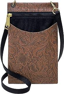 Danny K 女式挂毯斜挎包手机或护照钱包,美国制造 鞣革/棕色 Small