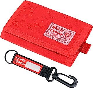Rough Enough 儿童钥匙扣钱包男孩女孩青少年三折卡包男士女士信用卡包前袋零钱零钱包整理包适用于学校户外运动独特有趣的礼物