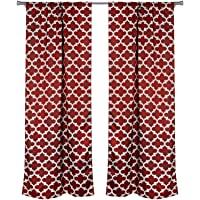 Elegant Linens 格子印花隔热房间遮光遮光窗帘 卧室 - 2 件套(红宝石)