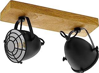 EGLO 49077 门背,2 盏天花板射灯,木和钢,E14,40W,木和黑色,天然
