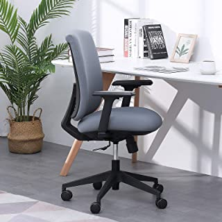 Scozer 家庭办公椅,舒适现代办公桌椅,2D 扶手的行政电脑办公椅和天然加厚海绵背,旋转椅带轮子(蓝色)