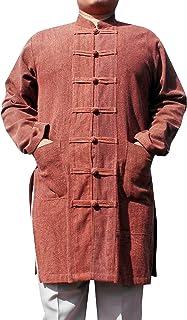 Svenine 长款中国夹克手工功夫太极衬衫,带腰袋