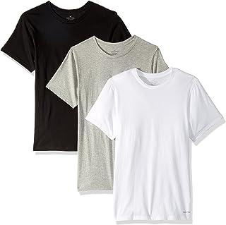 CALVIN KLEIN 男士 经典棉质圆领T恤 多件装,White/Black/Grey Heather,Medium,3.0