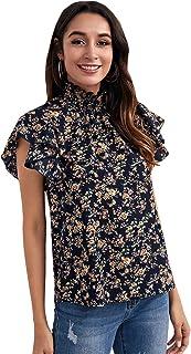 floerns 女式花卉印花高领泡泡袖长袖雪纺衬衫