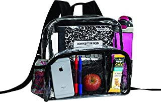 透明背包*认证 - 加固肩带和前配件袋 - 非常适合学校书包,体育活动 透明的 大