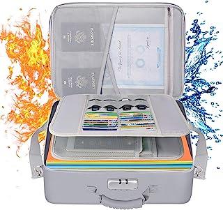 Tamfile XLarge 文件收纳袋,防火防水旅行重要文件夹盒,带*密码锁和肩带,大号和多层存储空间(1700 英寸)