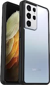 OtterBox 时尚手机壳,流线型保护三星 Galaxy S21 Ultra 5G - 透明/黑色 - 非零售包装