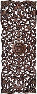 """热带木面板家居装饰/床头板。 木雕花卉墙壁艺术尺寸 90.17 厘米 x 34.29 厘米超厚 深棕色 35.5""""x13.5""""x1"""" 19035051671"""
