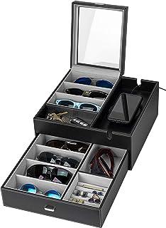 HOUNDSBAY Lookout 太阳镜和眼镜收纳盒收纳盒展示柜梳妆台代客 EDC 首饰盒带智能手机充电站 黑色/灰色