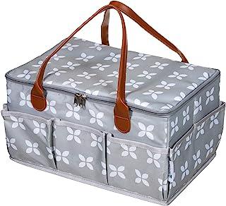 Moteph 超大尿布盒收纳袋,带拉链顶盖,带 2 个额外物件 - 防水干湿/湿巾袋 - 天鹅绒婴儿湿巾布 - 适合宝宝淋浴