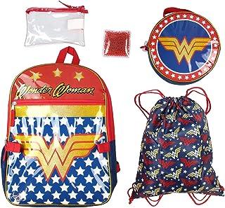 DC 漫画神奇女侠学校背包午餐袋铅笔盒抽绳运动包 5 件套