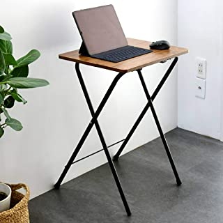 YAMAZEN 山善 桌子 迷你 折叠 边桌 宽50×深48×高70厘米 高款 划伤・污垢・水分・耐热性强的顶板(三聚氰胺加工) 光滑表面 圆角 复古棕色/黑色RYST5040H(ABR/BK4) 居家工作
