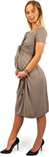 sofsy 柔软触感人造丝混纺前系带哺乳连衣裙孕妇时尚连衣裙