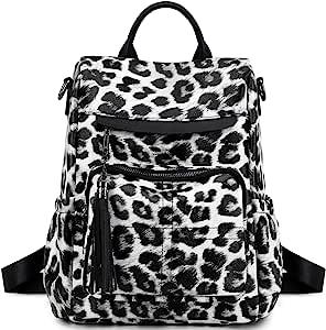 背包钱包女士女士时尚休闲轻质单肩包旅行背包(110 黑色豹纹-白色)
