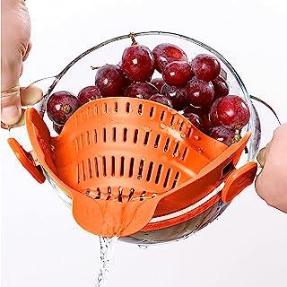 ACOODE 厨房食品过滤器适用于意大利面研磨牛肉油脂滤网和碗上的筛子按扣 耐热硅胶(橙色)