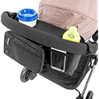 Lusso Gear 婴儿车收纳架带杯托 | 适合所有婴儿车 | 推车配件用于婴儿外出存储 | 带有多个存储区的婴儿车收…