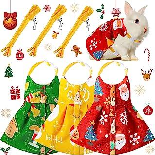 3 件套可爱兔子皮带和胸背带套装,兔子礼服,步行胸背带背心逃脱宠物用品,适用于兔刺猬雪貂豚鼠小猪松鼠(圣诞节元素)