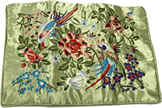 Wrapables Silk Embroidered Jewelry Rolls, Large, Olive Green