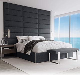 VANT 带软垫装饰墙板 - 4 件装,易于安装,双人床尺寸床头板(76厘米宽,毛绒天鹅绒孔雀蓝) Weave Blue Denim 91cm WIDE WNBL304