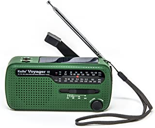 Kaito Voyager V2 便携式太阳能/手曲轴 AM/FM、短波和 NOAA 天气应急收音机带 USB 手机充电器和 LED 手电筒4336302721