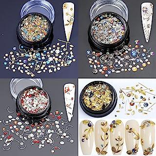 4 盒金色银色金属铆钉铆钉叶混合水晶*宝石水钻 3D 美甲艺术魅力美甲设计配件用品 DIY 手工珠宝