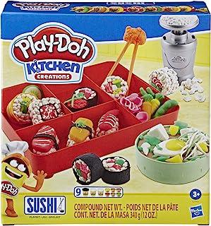 Play-Doh Kitchen Creations 寿司玩具套装 带寿司盒 适合3岁以上儿童 带9罐