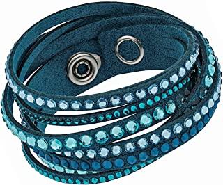 施华洛世奇 Slake 5043496 浅蓝色 Alcantara 手链 含混合水晶