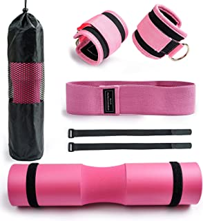 杠铃垫适用于臀部推力深蹲酒吧垫泡沫杠铃垫,适用于杠铃垫,带 2 个健身踝带 1 个短靴带和一个用于标准奥林匹克杠铃的便携包