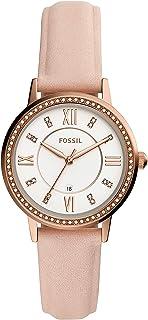 Fossil 女式 Gwen 不锈钢石英手表皮革表带