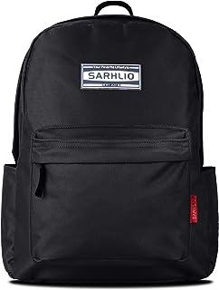 Sarhlio 经典学校 15.6 英寸笔记本电脑背包 黑色//白色 12.4 x 5.3 x 16.5inch (L x W x H)