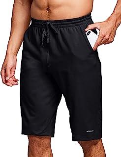 Willit 男式 10 英寸(约 25.4 厘米)棉质休闲短裤运动锻炼瑜伽运动短裤休闲睡衣百慕大短裤带口袋
