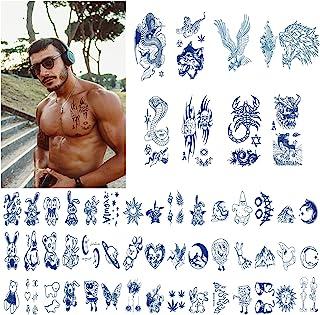 53 件男士临时纹身,半永久假*纹身,深蓝色,防水耐用防汗鹰老虎蝎子狼动物临时纹身,适合成年人和男孩的胸部