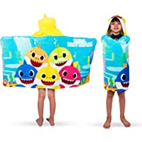 Franco 儿童沐浴沙滩柔软棉质毛巾布连帽浴巾,60.96 厘米 x 127 厘米,Baby Shark
