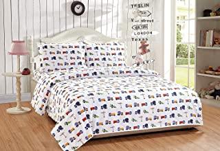 Smart Linen 儿童男孩女孩幼儿青少年儿童床单套件包括床单、床笠和枕套,超柔软超细纤维印花床上用品,4 件套中号双人床尺寸,结构蓝色