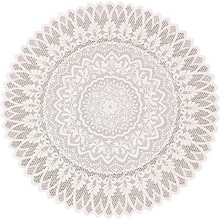 加荣蕾丝 桌布圆形 93×93cm 防水加工 25079