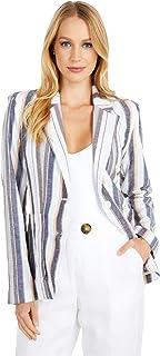 BB Dakota 女式 Line N' Dine 棉麻条纹外套