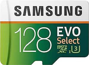 Samsung 三星:EVO Select 128GB MicroSDXC UHS-I U3 100MB/s 全高清和 4K UHD 存储卡带适配器(MB-ME128HA)