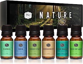P&J Trading Nature 高级香精油6件套-森林松,海洋微风,雨水,鲜切草,檀香,竹子-10ml