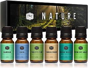 P&J Trading Nature 6 件套優質香水油 - 森林松木、海洋風氣、雨、清新切割草、檀香、竹 - 10ml