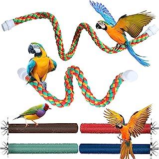 Frienda 6 件套鸟绳鲈鱼和木爪磨棒多色鸟笼玩具,适用于小鹦鹉、长尾鹦鹉、鹦鹉、锥尾鹦鹉、金刚鹦鹉、爱情鸟