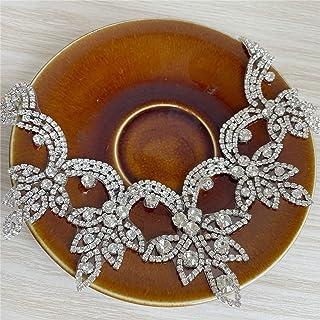 熨烫式 V 领领口水晶贴花闪亮水钻贴花新娘婚纱礼服 (RS001)