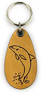 ForLeatherMore 海豚真皮钥匙扣海豚钥匙扣海洋钥匙链