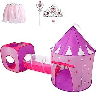 送给女孩的礼物,带隧道的公主帐篷,儿童城堡游戏屋和公主装扮弹出式游戏帐篷套装,幼儿玩具生日礼物,适合年龄 2 3 4 5 6 7 岁,夜光星星,室内