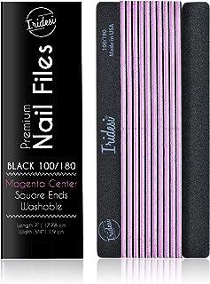 Iridesi 专业*锉 黑色可洗*锉 7 英寸长 方形端部锯齿边缘 12 个*锉 100/180