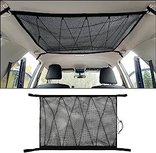 GZSH Car SUV 车顶 货物 收纳网袋 90.16 厘米 x 65.04 厘米 双层网眼帐篷装备收纳袋 带拉链 拉绳 面包车箱 旅行 长途旅行 露营 必需品 室内配件